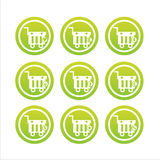 green shopping baskets signs Royalty Free Stock Photo