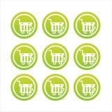 Green shopping baskets signs Royalty Free Stock Photo