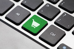 Green Shopping button key Royalty Free Stock Photos