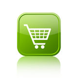 Green shopping cart button. Over white Royalty Free Stock Photography