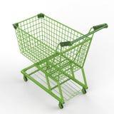 Green shopping cart Stock Image