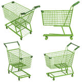 Green shopping cart Stock Images