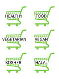 Green Shopping Cart Icons Healthy Food Royalty Free Stock Photos