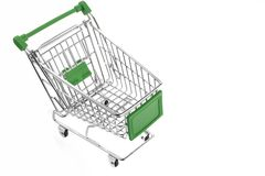 Green Shopping Cart Isolated On White royalty free stock photo
