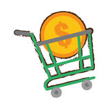 Green shopping cart online coin dollar sketch Stock Images