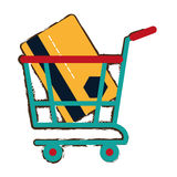 Green shopping cart online credit card bank sketch Royalty Free Stock Photos