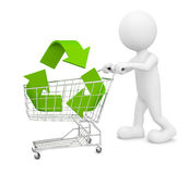 Green Shopping. 3D generated man shopping green royalty free illustration
