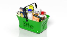 Green shopping hand basket Royalty Free Stock Photography