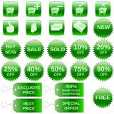 Green shopping icons. A set of shopping icons, badges and tags
