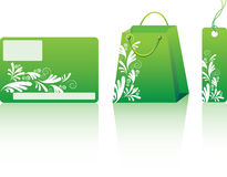 Green shopping set. Many decorative elements. Isolated on a white background. Vector will be aditional Stock Photography