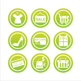 Green shopping signs Stock Photography