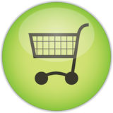 Green shopping trolley button. Illustration of shopping trolley or cart on round green button, isolated on white background Stock Photos