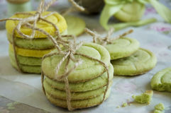 Green shortbread cookies Royalty Free Stock Photo