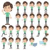 Green shortsleeved shirt Men. Set of various poses of Green shortsleeved shirt Men Stock Photos