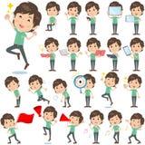 Green shortsleeved shirt Men 2. Set of various poses of Green shortsleeved shirt Men 2 Stock Photos