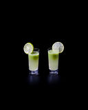 Green shots cocktails royalty free stock image