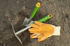 Green shovel and rake, garden gloves for seedlings Stock Photos