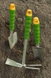 Green shovel and rake, garden gloves for seedlings Royalty Free Stock Image