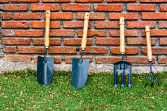 Green shovel spade trowel Stock Photo