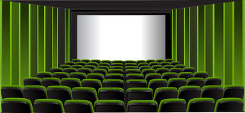 Green showing room; cinema Royalty Free Stock Photos