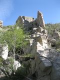 Local Mountain Landscape. Green Shrubs, Rocks, in the local mountain range. Hiking in southern California stock images