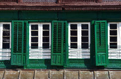 Green shutters in the Durbar square, Kathmandu, Nepal Royalty Free Stock Images