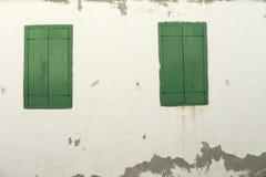 Green shutters Lesvos greece Stock Photography