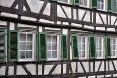 Green shutters on wattle facade, tubingen Royalty Free Stock Photography
