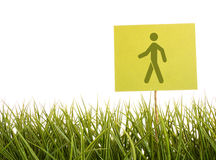 Green sign in the grass Stock Photography