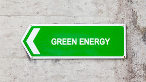 Green sign - Green energy. Green sign on a concrete wall - Green energy Royalty Free Stock Photography