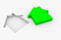 Green sign of house. Vector Illustration