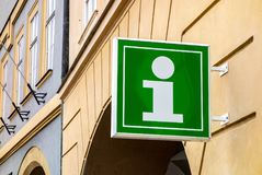 Green sign of info centre for tourists and visitors Royalty Free Stock Image