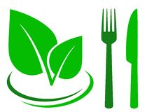 Green sign with leaf and cutlery Stock Image