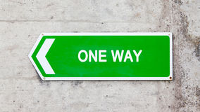 Green sign - One way Stock Images
