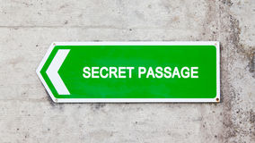 Green sign - Secret passage Stock Photos