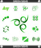 Green Sign Symbol Set Stock Photos