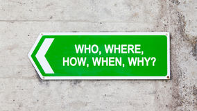 Green sign - Who where how when why Royalty Free Stock Photos