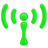 Green sign wi-fi. Isolated render on a white background Stock Image