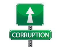 Green sign with the word corruption. Illustration Stock Photo