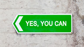 Green sign - Yes you can Stock Images