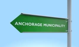 Green signpost anchorage municipality Royalty Free Stock Image
