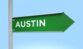 Green signpost austin. 3d rendering Green signpost Royalty Free Stock Image