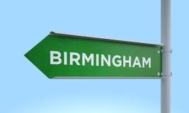 Green signpost birmingham. 3d rendering Green signpost Royalty Free Stock Photography
