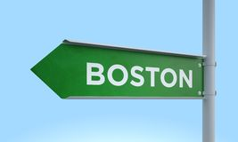 Green signpost boston. 3d rendering Green signpost Royalty Free Stock Photography