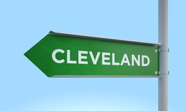 Green signpost cleveland Royalty Free Stock Photo