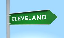 Green signpost cleveland Stock Photo