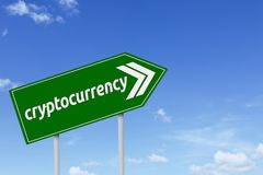 Green signpost with cryptocurrency word. Image of a green signpost with cryptocurrency word under blue sky Royalty Free Stock Photos
