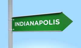 Green signpost indianapolis Royalty Free Stock Image
