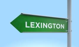 Green signpost lexington. 3d rendering Green signpost Stock Photo