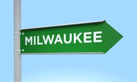 Green signpost milwaukee. 3d rendering Green signpost Royalty Free Stock Photo